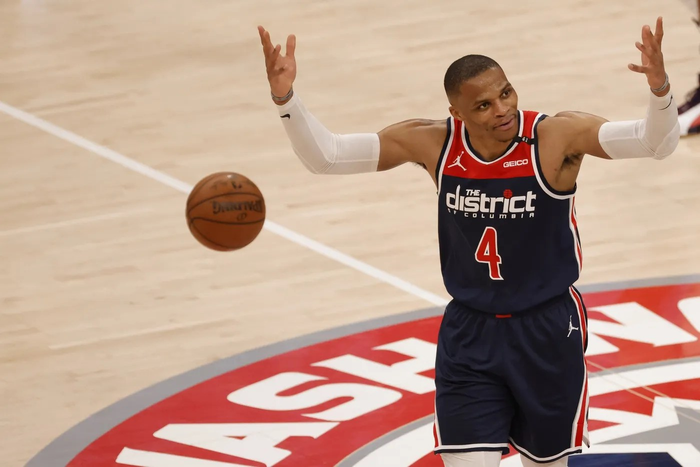 May 3, 2021; Washington, District of Columbia, USA; Washington Wizards guard Russell Westbrook (4) celebrates on the court against the Indiana Pacers in the third quarter at Capital One Arena. Mandatory Credit: Geoff Burke-USA TODAY Sports