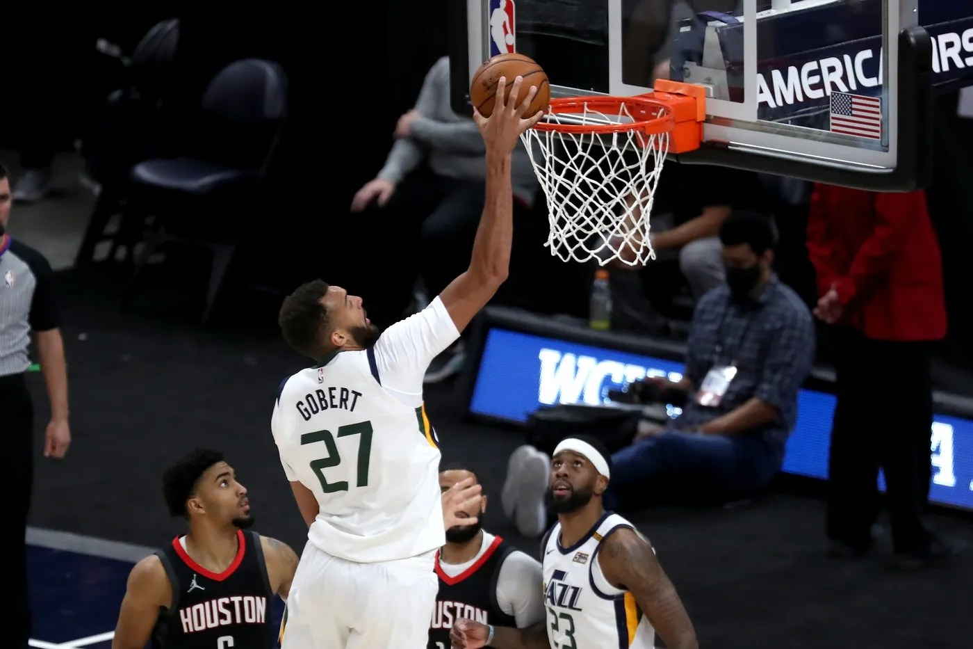 May 8, 2021; Salt Lake City, Utah, USA; Utah Jazz center Rudy Gobert (27) dunks the ball against the Houston Rockets in the third quarter at Vivint Arena.