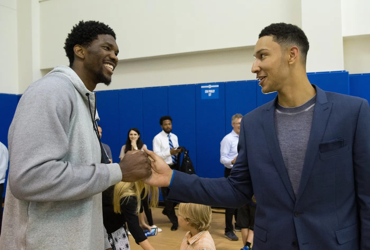 Jun 24, 2016; Philadelphia, PA, USA; Philadelphia 76ers number one overall draft pick Ben Simmons (R) is greeted by center Joel Embiid (L) during a press conference at the Philadelphia College Of Osteopathic Medicine.