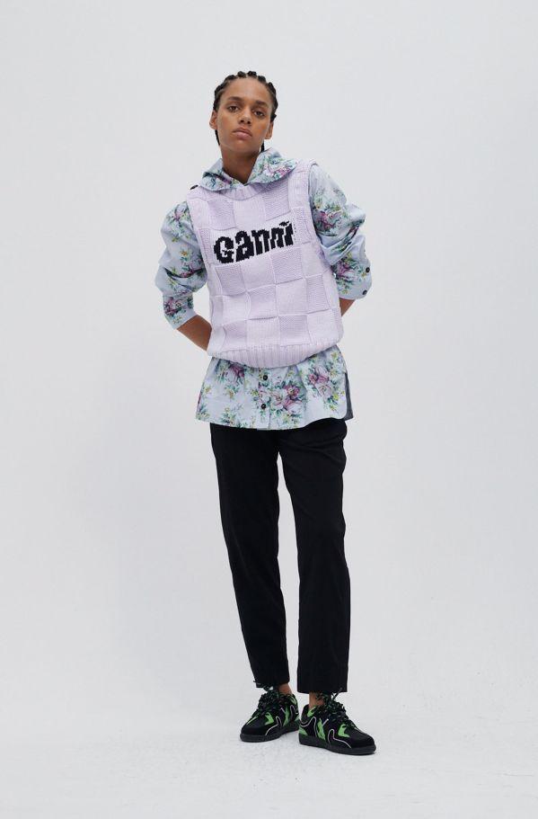 Checkerboard Knit Logo Vest, Cotton, in colour Misty Lilac - 2 - GANNI