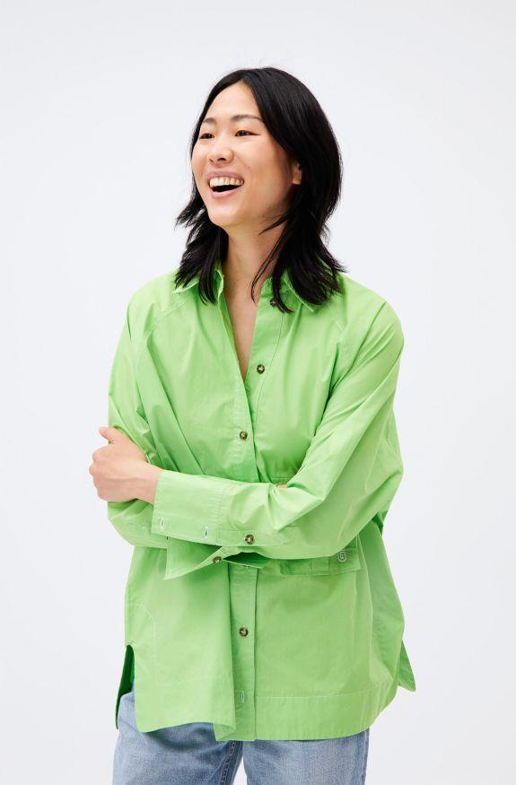 Cotton Poplin Raglan Sleeve Oversize Shirt, Cotton, in colour Flash Green - 1 - GANNI