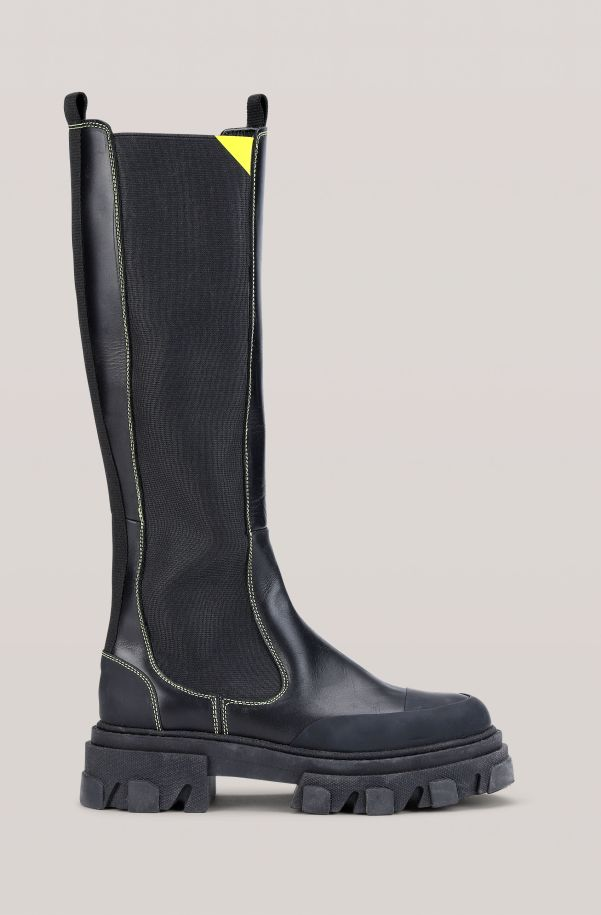 Calf Leather High Chelsea Boot, in colour Black - 1 - GANNI
