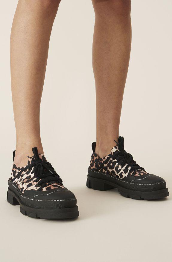 Nylon Hybrid Sneaker, Polyamide, in colour Leopard - 3 - GANNI