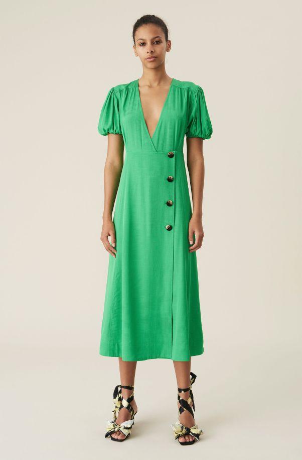 Green Ripstop Wrap Midi Dress, Ecovero Viscose, in colour Kelly Green - 1 - GANNI