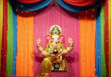Simple Home Decoration For Ganpati Festival Ideas Colorful Dupattas