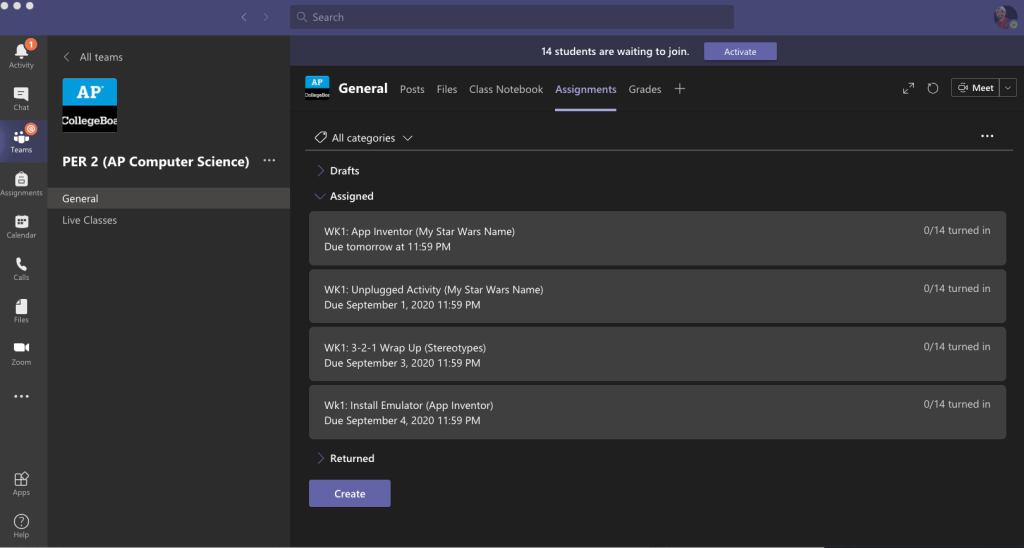 Microsoft Teams Assignments