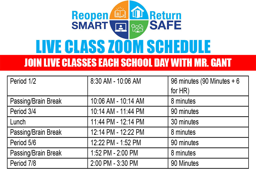 Live Class Bell Schedule (Distance Learning)
