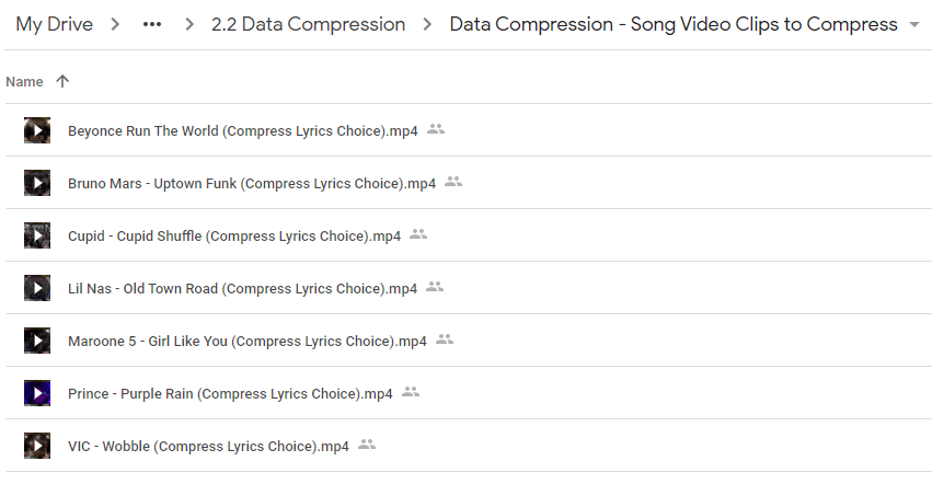 Big Idea 2: Data (Topic 2.2 Data Compression - Song Lyric Choices)