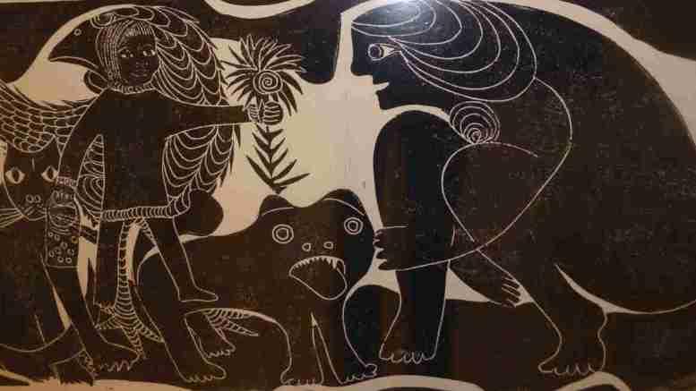 Linoldruck von Brigitte Kranich im Kunstraum schräg und gut in Jesteburg Foto: kunstraum