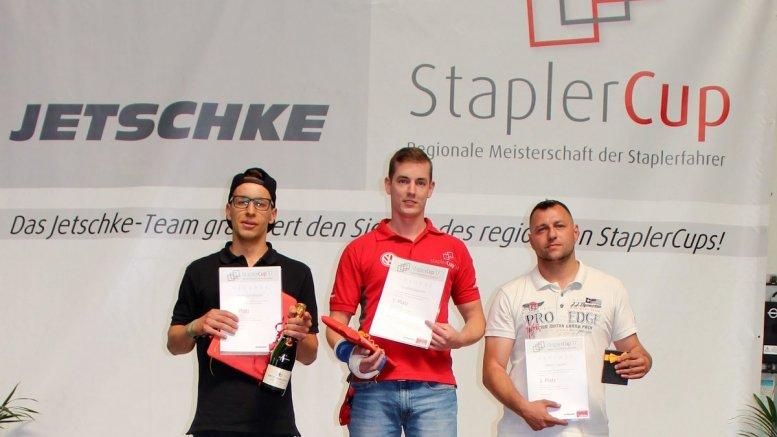 Die drei Sieger des Jeschke StaplerCup