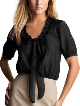 Women: Ruffle bow tall blouse - true black