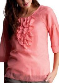 Women: Lantern sleeve feminine tall blouses - pink heart
