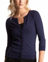 Women: Rhinestone cardigan - menswear blue