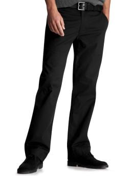 Men: Clean straight fit plain front pants - true black