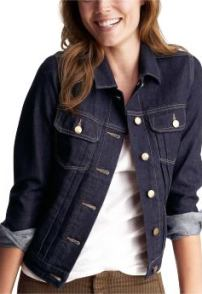 Women: Pleated denim tall jacket - rinse