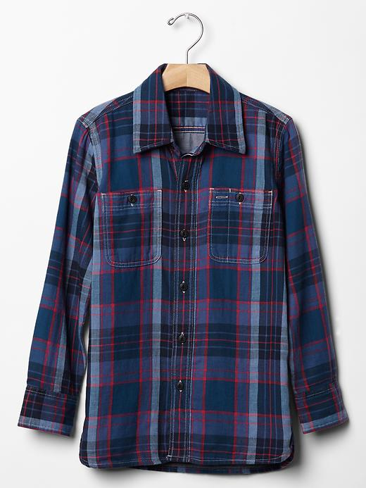 Gap Boys Plaid Double Weave Shirt Size L Husky - navy/red plaid