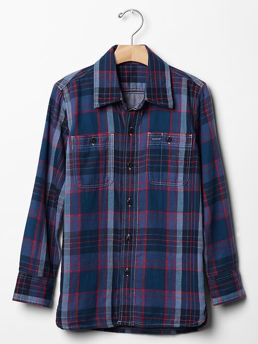 Gap Boys Plaid Double Weave Shirt Size L Husky - navy/red plaid