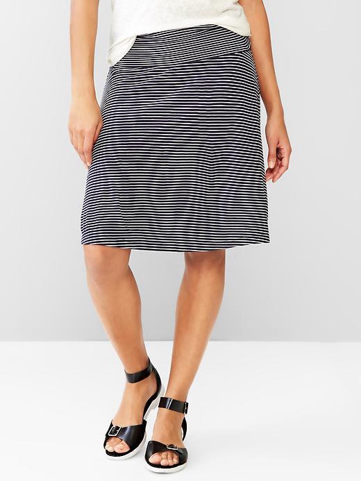 Gap Women Stripe Foldover Skirt Size L Petite - Dark night