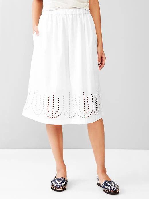 Gap Laser Cut Midi Skirt Size M - Optic white