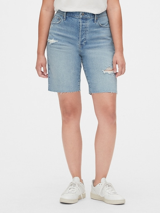High Rise Distressed Denim Bermuda Shorts