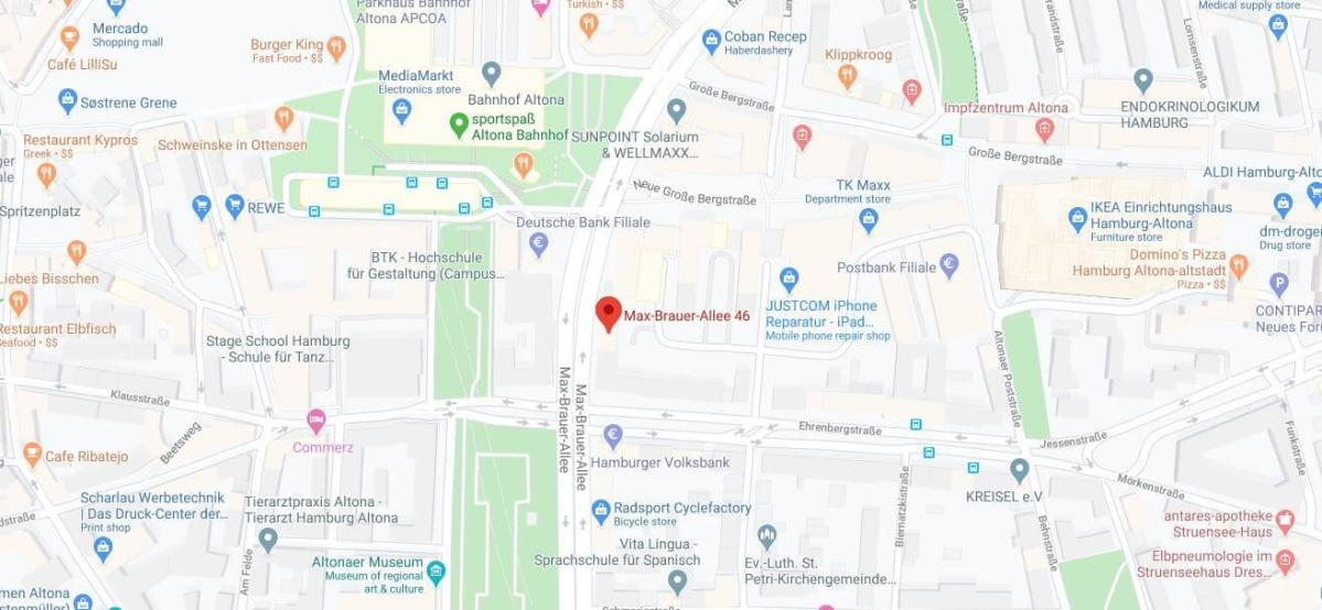 Map - Max Brauer Alle 46 Hamburg Germany