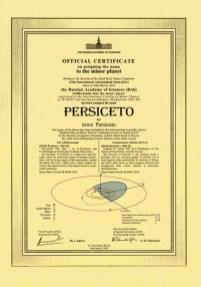 Pergamena attestante il conferimento del nome Persiceto