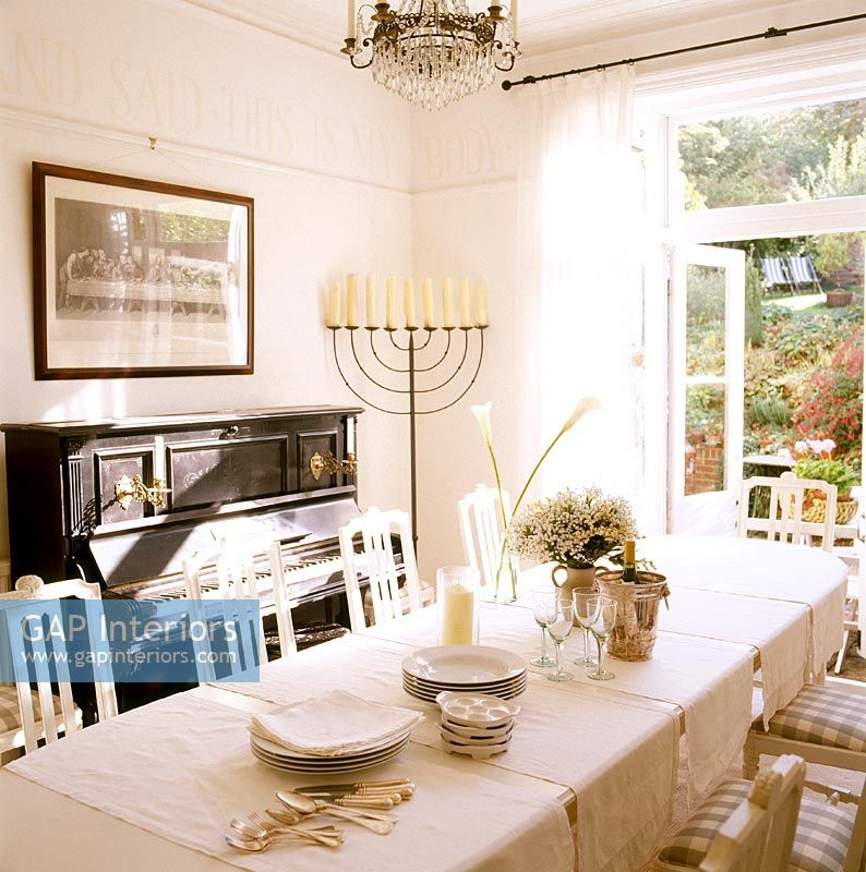 GAP Interiors Classic Dining Room With Piano Image No