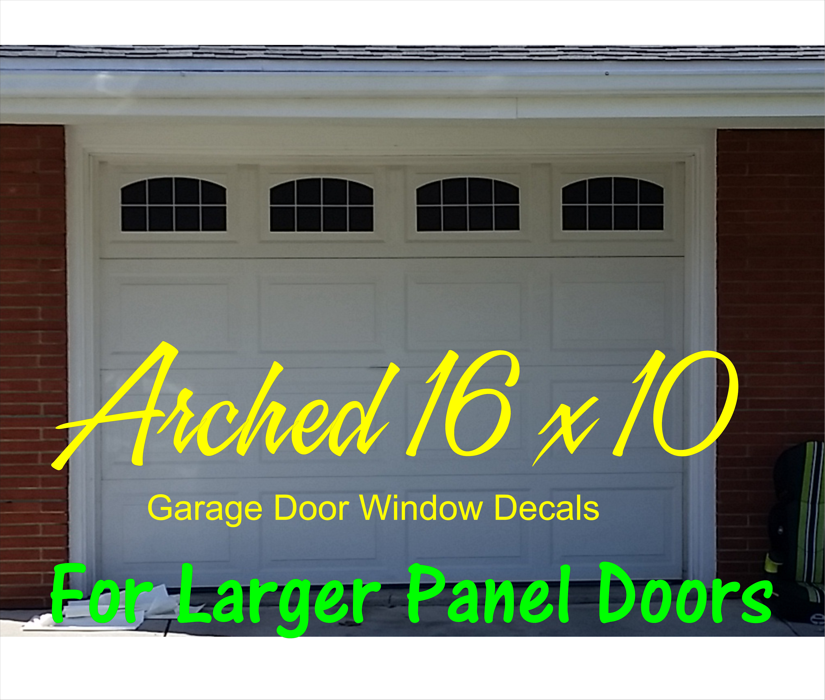 Home / Uncategorized / Arched Style 16 X 10 Faux Window Garage Door Vinyl  Decals