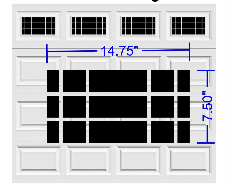 Prairie Design Style Faux Window Garage Door Vinyl Decals