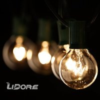 LIDORE® G40 Globe bulb Patio String Light set. UL lsit. Clear Bulbs with Green Cord. 25.8ft Long. Suitable for Classic Indoor/Outdoor use. Classical design with Natural Warm White light.