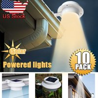10 Pack Deal - Outdoor Solar Gutter LED Lights - White Sun Power Smart LED Solar Gutter Night Utility Security Light for Indoor Outdoor Permanent or Portable for Any House, Fence, Garden, Garage, Shed, Walkways, Stairs - Warm White