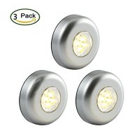 "[Latest Version]Ledinus 3 Pack Large Size Super Bright 4-LED Touch Tap Push Stick on Anywhere Under Closets Cabinet Night Light Lamps(3.4"" Silver),Warm Light"