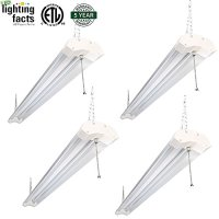 4 Pack Hykolity Utility 4FT LED Shop Lights 40W 4800 Lumen LED Garage Light 5000K Daylight White ETL Certified Double Integrated Ceiling Lighting Fixture with Pull Cord Switch