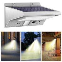 Solar Security Lights, iThird 21 LED Motion Sensor Wall Lights 3 Modes Solar Powered Outdoor Waterproof Garden Patio Garage Lighting Super Bright(Warm White)