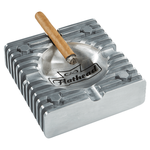 CAO Flathead Metal Ashtray with Cigar