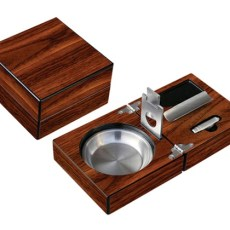 High Gloss Walnut Folding Ashtray Set w- Accessories