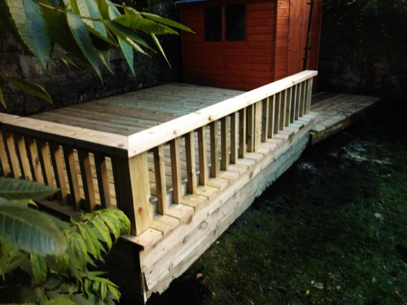 Decking with bench seating balustrade.