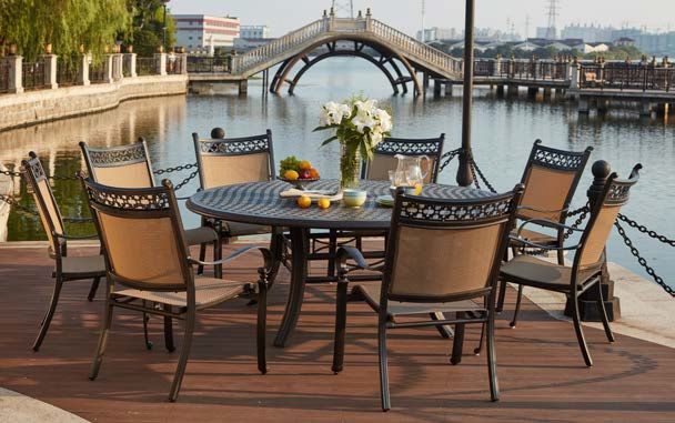 patio furniture dining set cast aluminum sling chairs 71