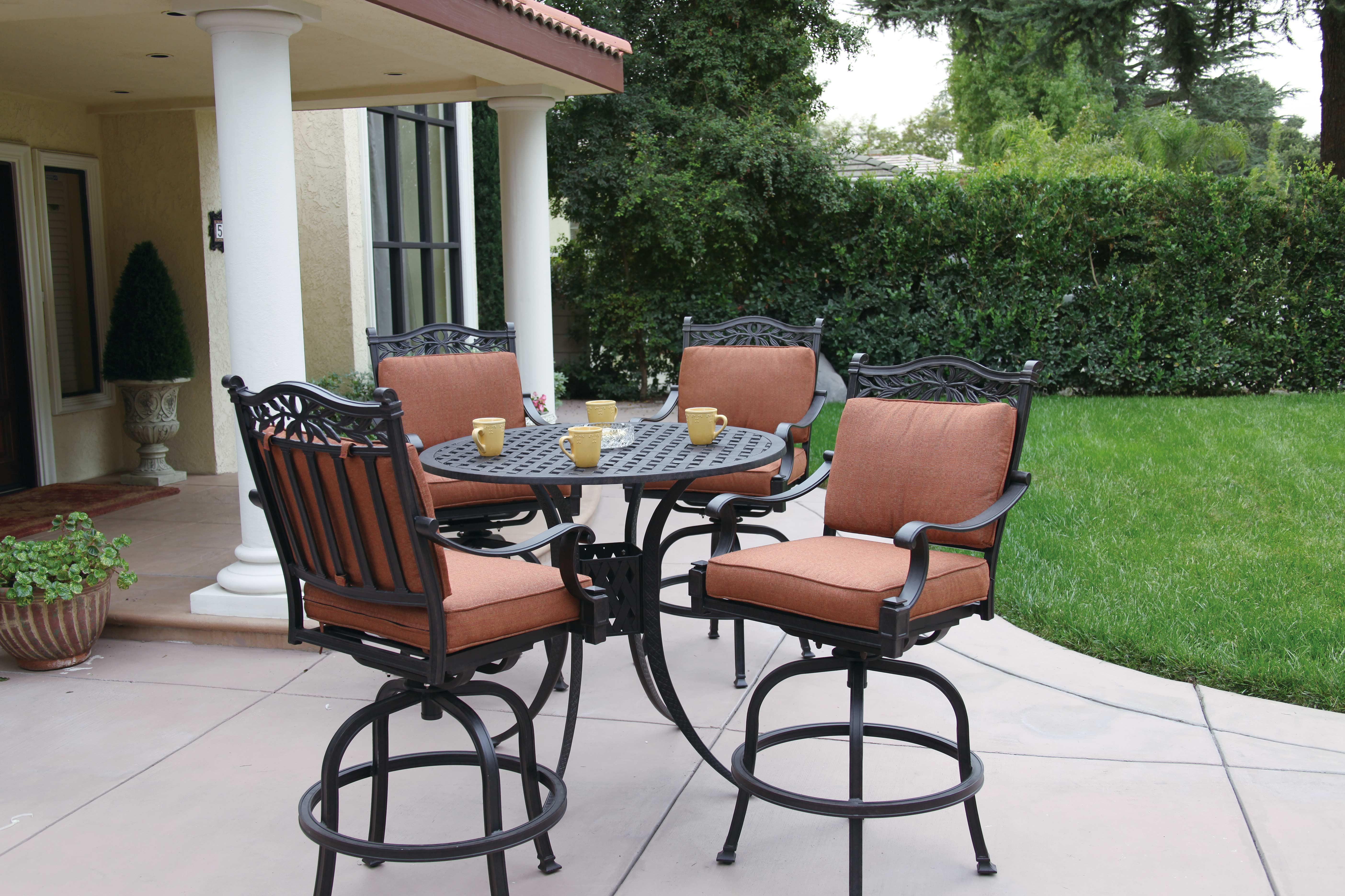 patio furniture dining set cast aluminum 42 pub table 5pc charleston