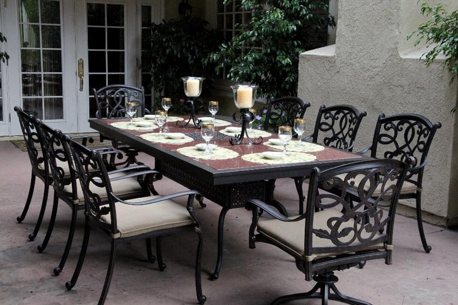 patio furniture dining set cast aluminum 91