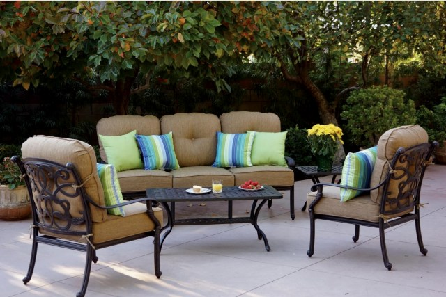 patio furniture deep seating set cast aluminum 5pc santa monica