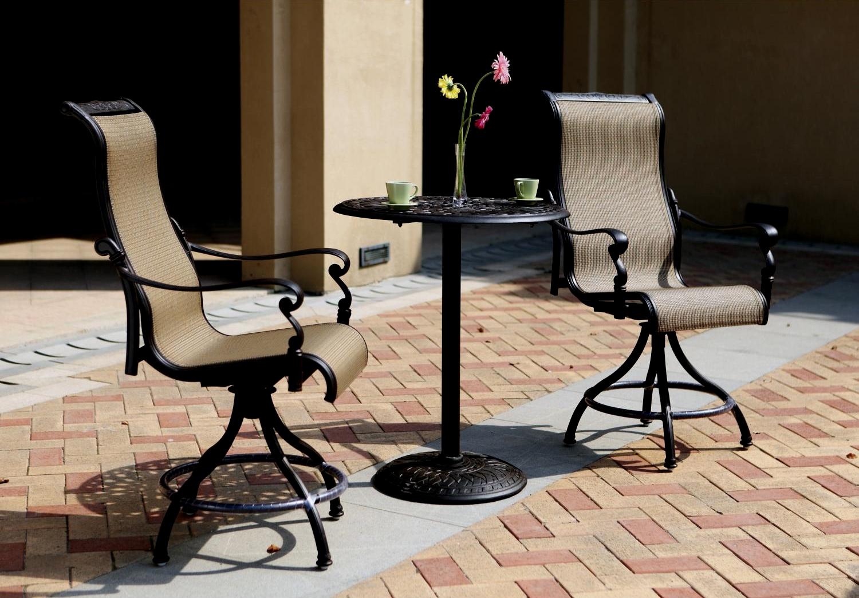 patio furniture bistro set cast aluminum pub 3pc monterey
