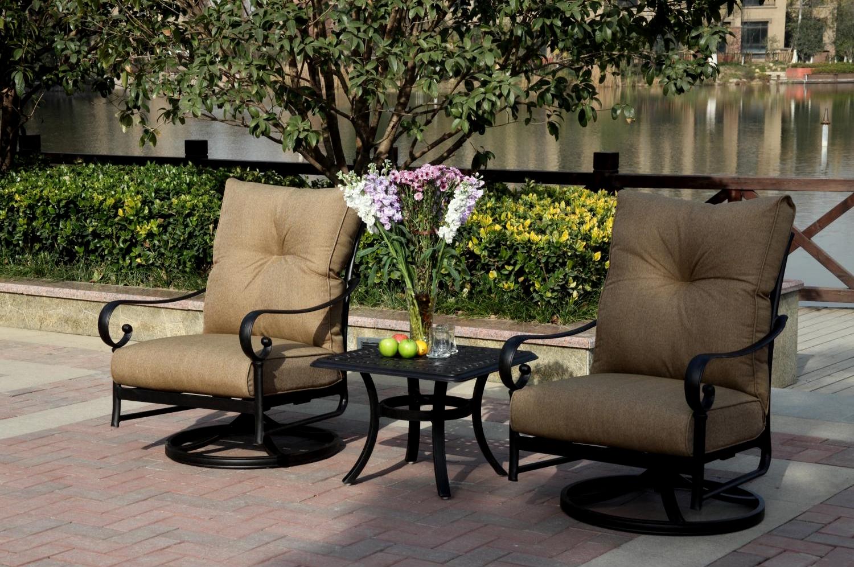 patio furniture cast aluminum rocker set swivel 3pc santa anita