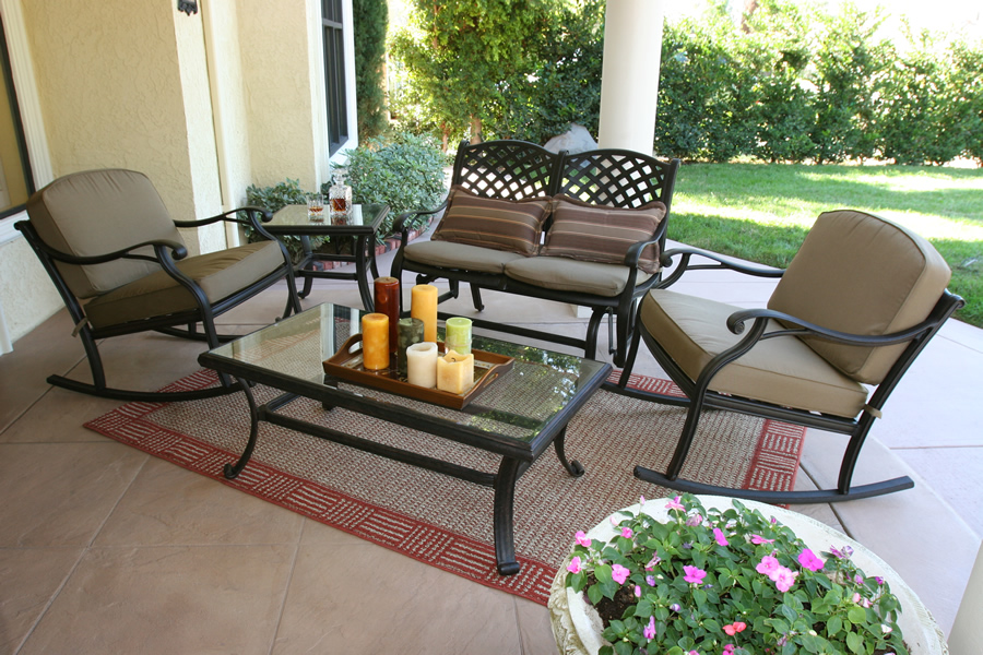 patio furniture chat group cast aluminum rocker glider 5pc nassau