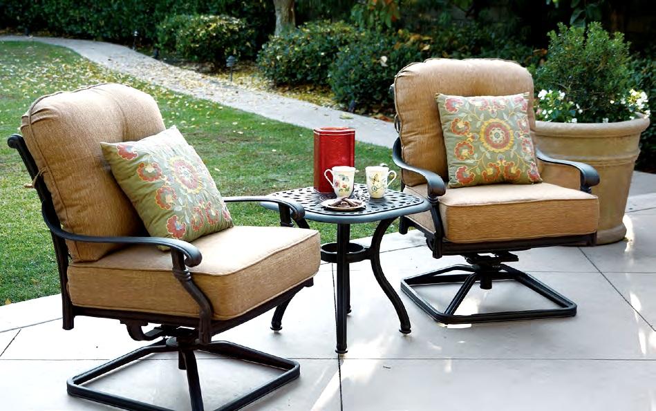 patio furniture cast aluminum deep seating rocker swivel club chair set 3pc santa monica