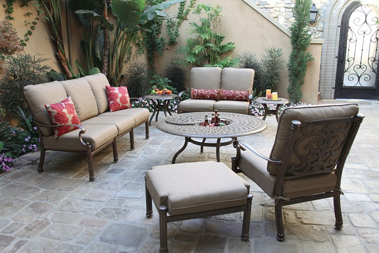 patio furniture cast aluminum deep seating 7pc santa barbara