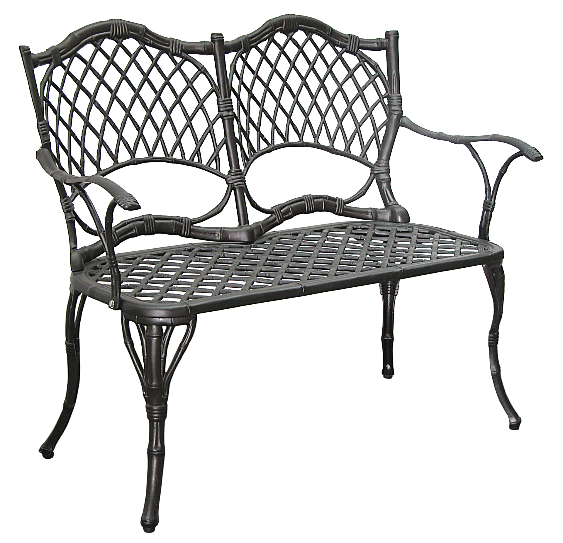 Patio Furniture Bench Cast Aluminum Iron Loveseat Black Bamboo