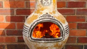 Large Azteca Yellow Mexican Clay Chimenea Fireplace 99