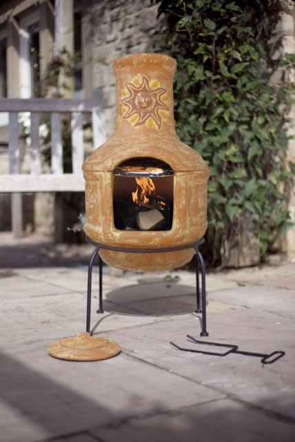 Clay Sunset Pizza Chiminea With Bbq Grill Patio Heater