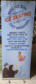Banner signage used at the entrance to promote the real ice rink